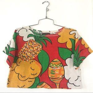 Vintage 1980's tropical print pineapple crop top